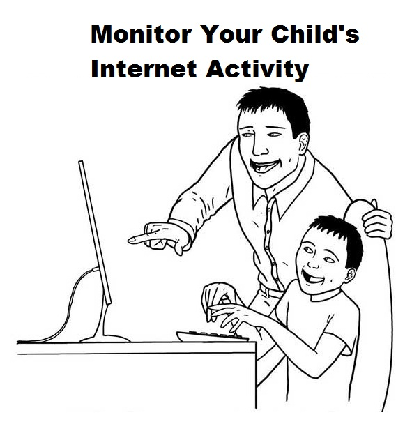 Internet Safety Coloring Sheets for Kids about Monitoring Child Internet Activity