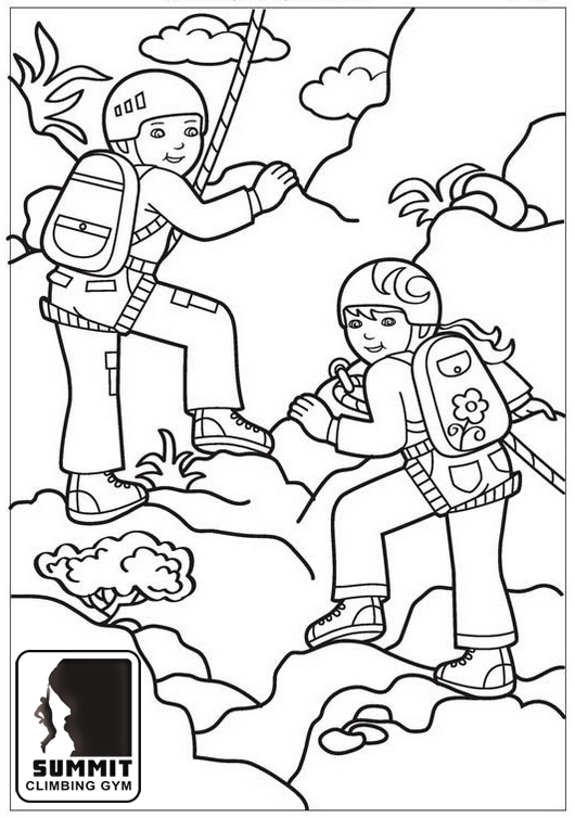 Mountain Climbing Climbers Coloring Page