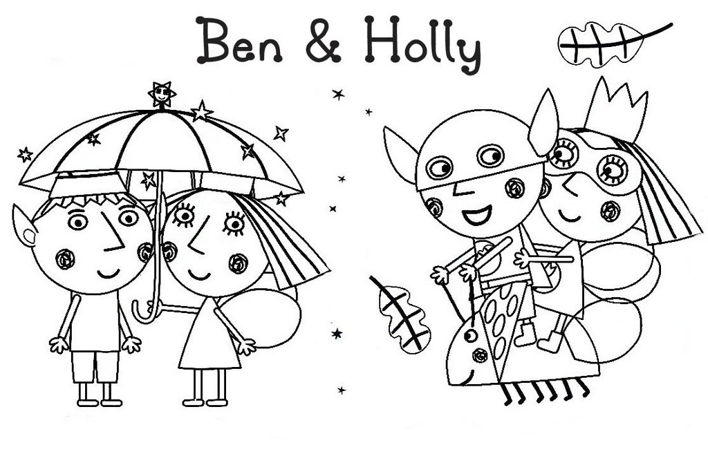 Sweet and Romantic Ben and Holly Coloring Page