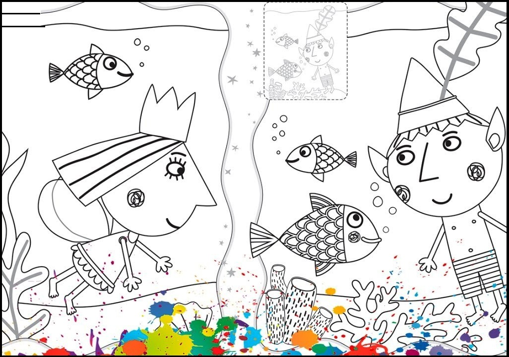 ben and holly undersea coloring page