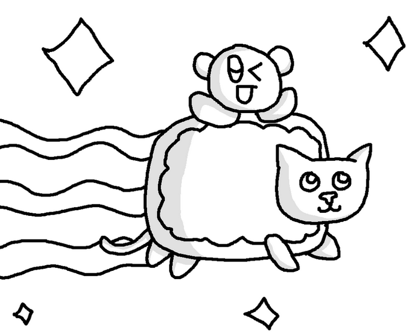 cute kirby riding nyan cat coloring page