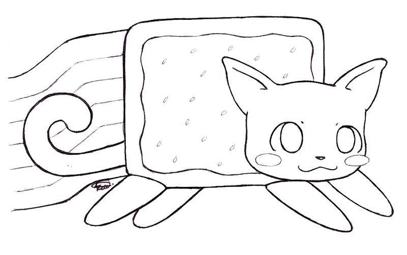 cute nyan cat coloring page