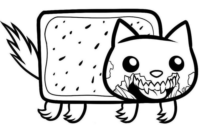 fantastic zombie nyan cat coloring picture
