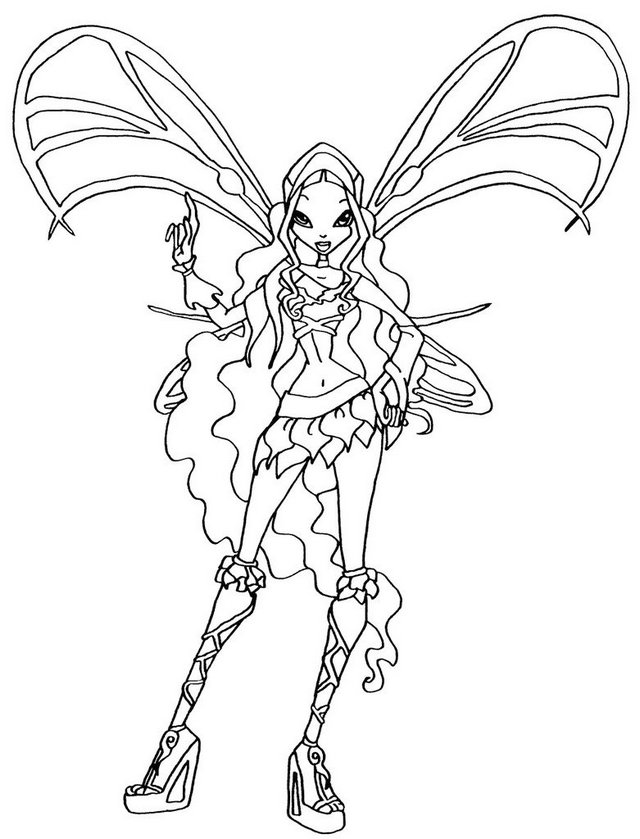 layla sophix winx club coloring page for girls