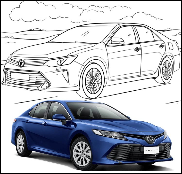 toyota camry skecth coloring page