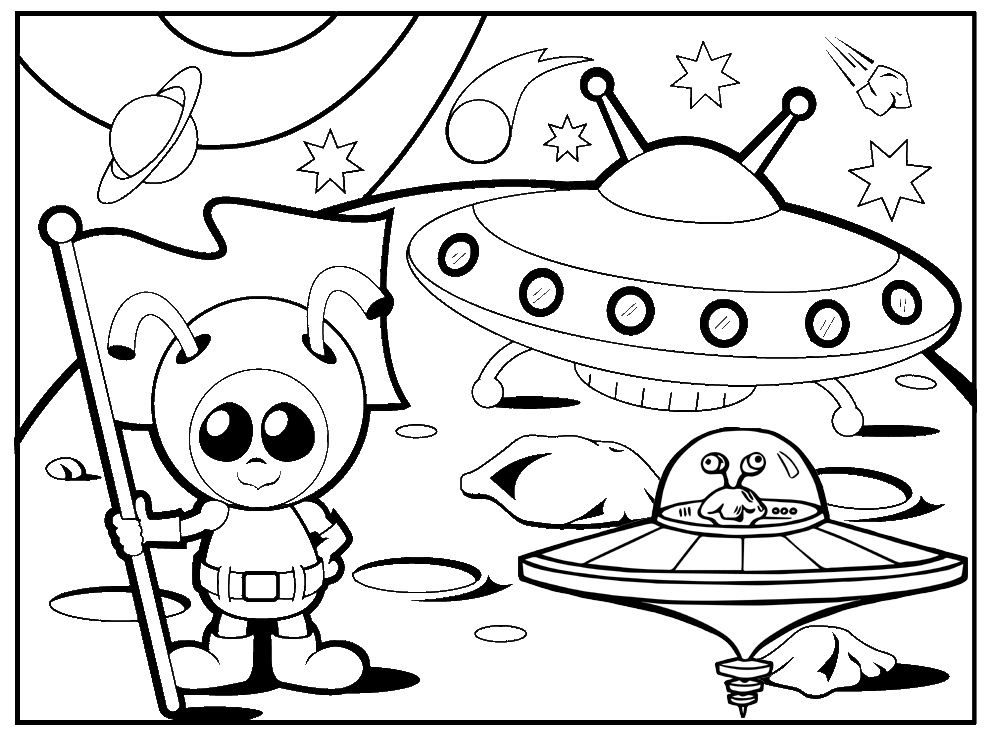 Best UFO and alien coloring pages printable