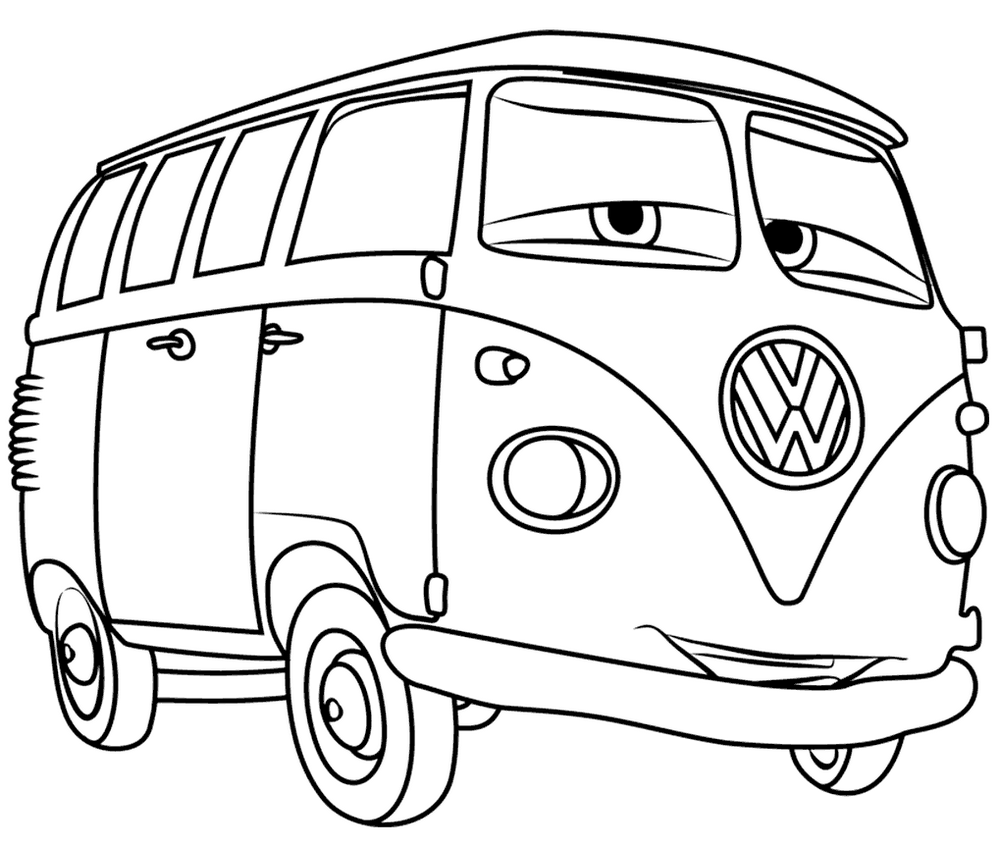 cartoon hippie bus vw coloring page