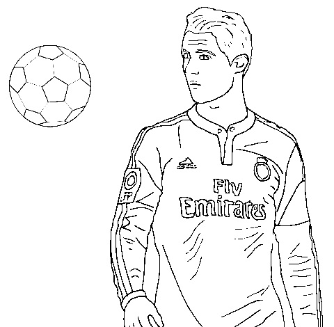 Cristiano Ronaldo and Ball Coloring Page