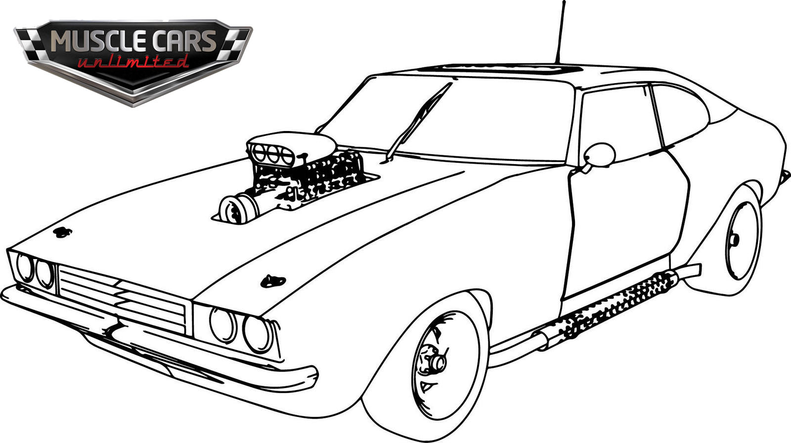 Old Sport Muscle Car Coloring Page for Boys