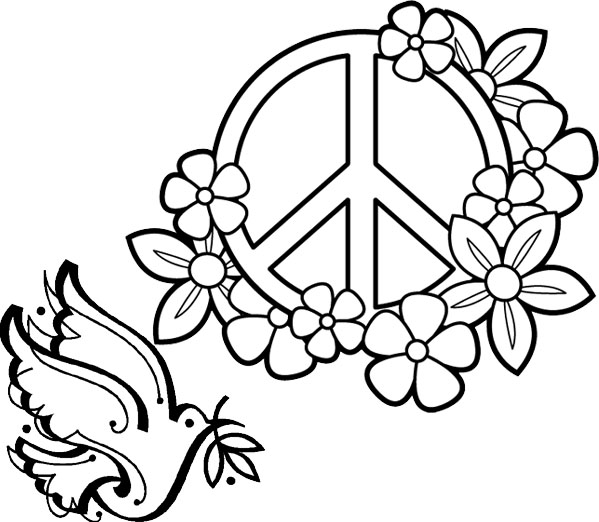 Peace Sign Flower Coloring Page