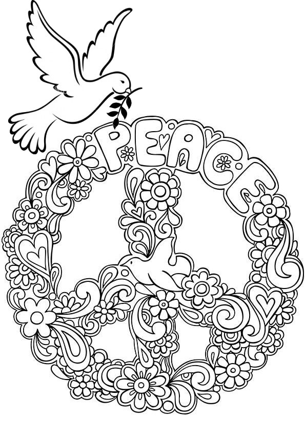 Peace Sign Pigeon Coloring Page
