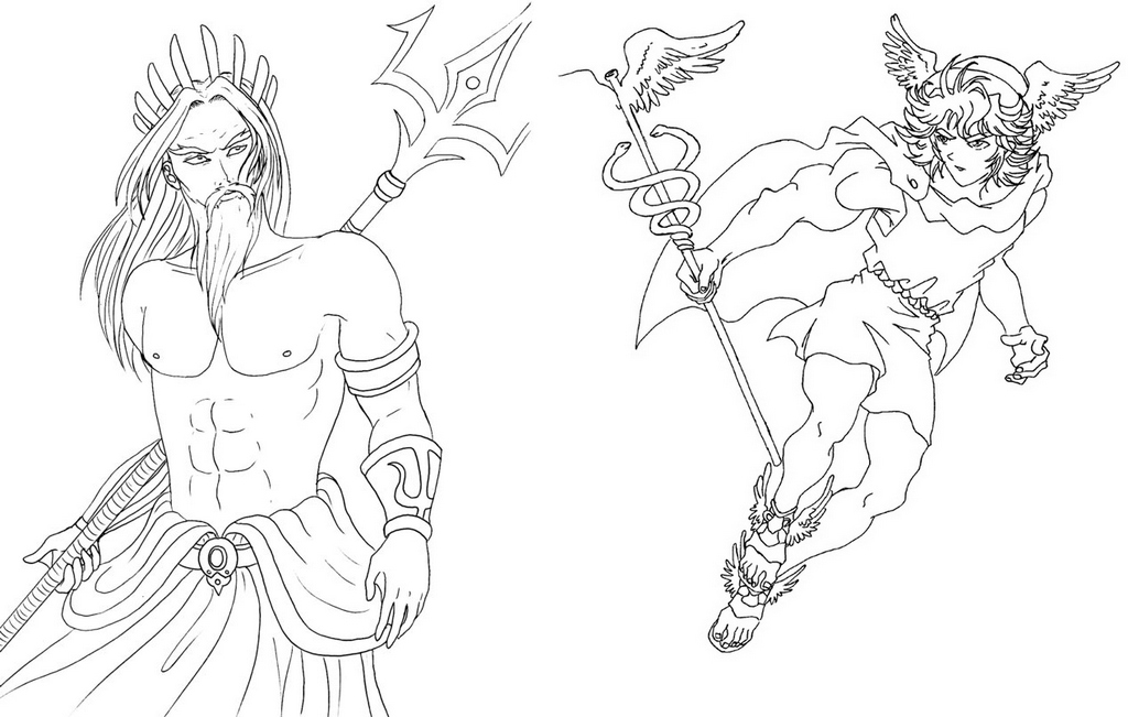 Poseidon and Hermes Coloring Page