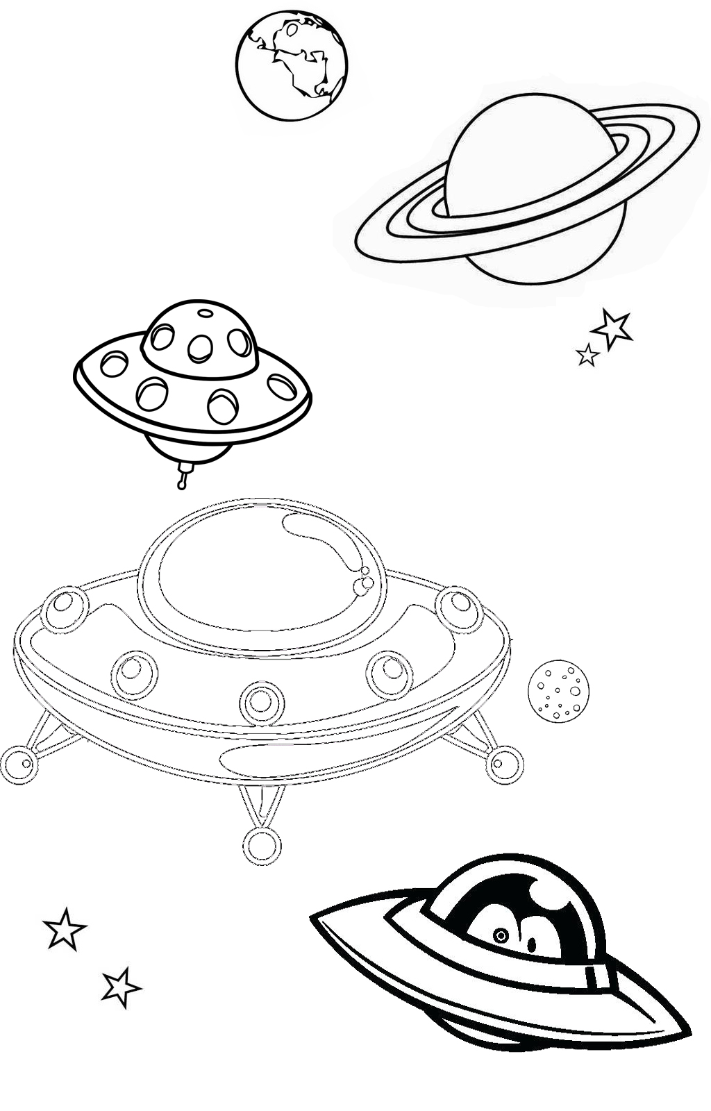UFO Flying Coloring Page