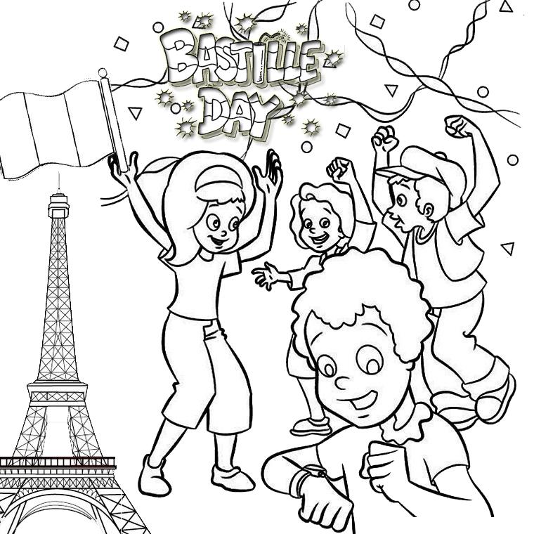 Vive le 14 juillet Bastille Day Paris Coloring Page