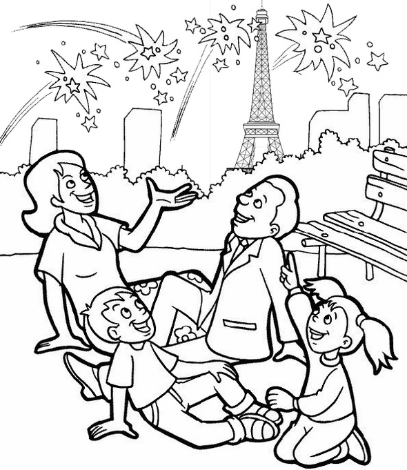 bastille day 14th of July Coloring Page