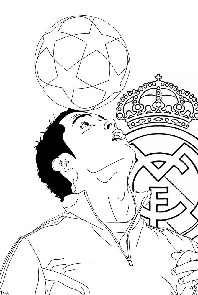 cristiano ronaldo juggling ball coloring page