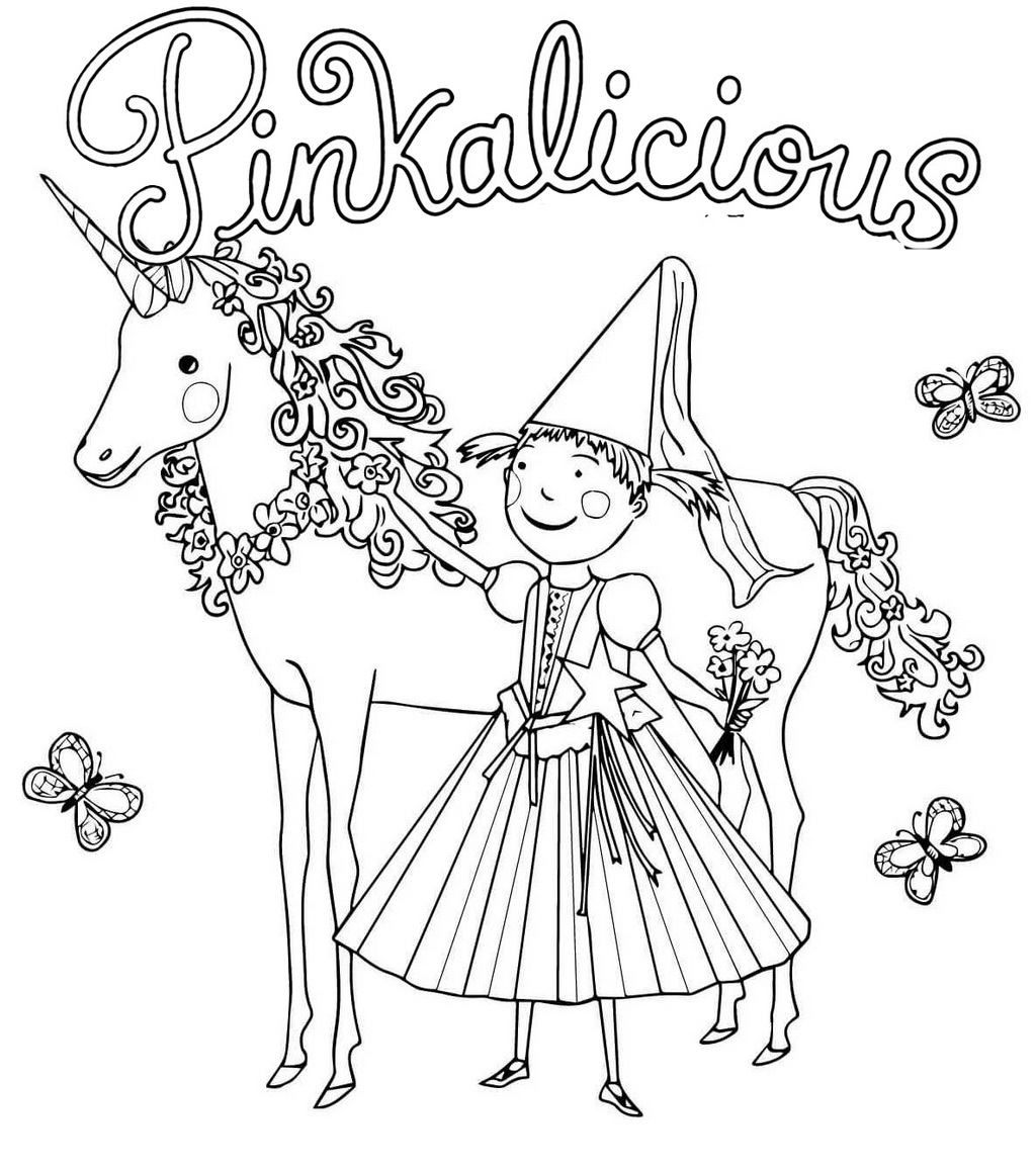 fun pinkalicious and unicorn coloring page