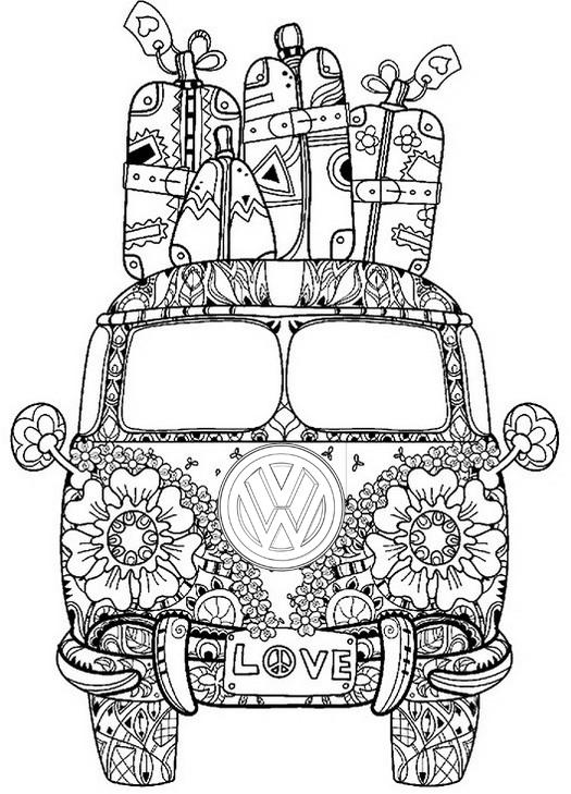 mandala bus volkswagen van coloring page