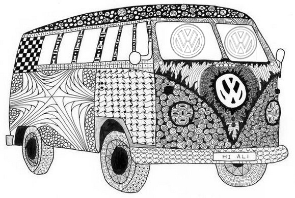 mandala volkswagen vw coloring page for adults