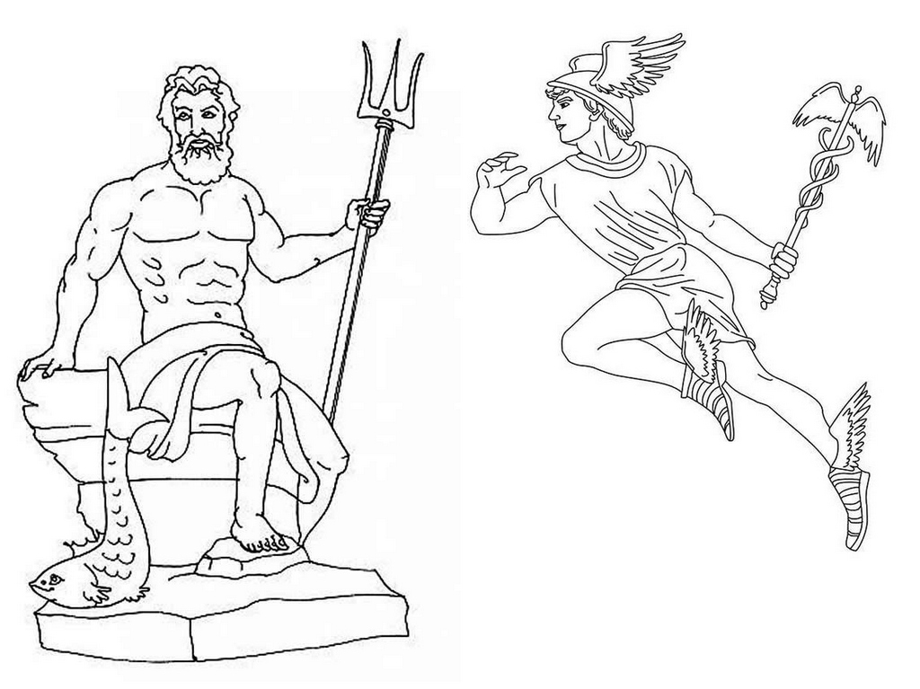 neptune and hermes coloring page