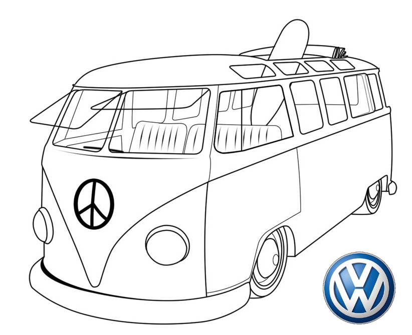 new volkswagen bus coloring page