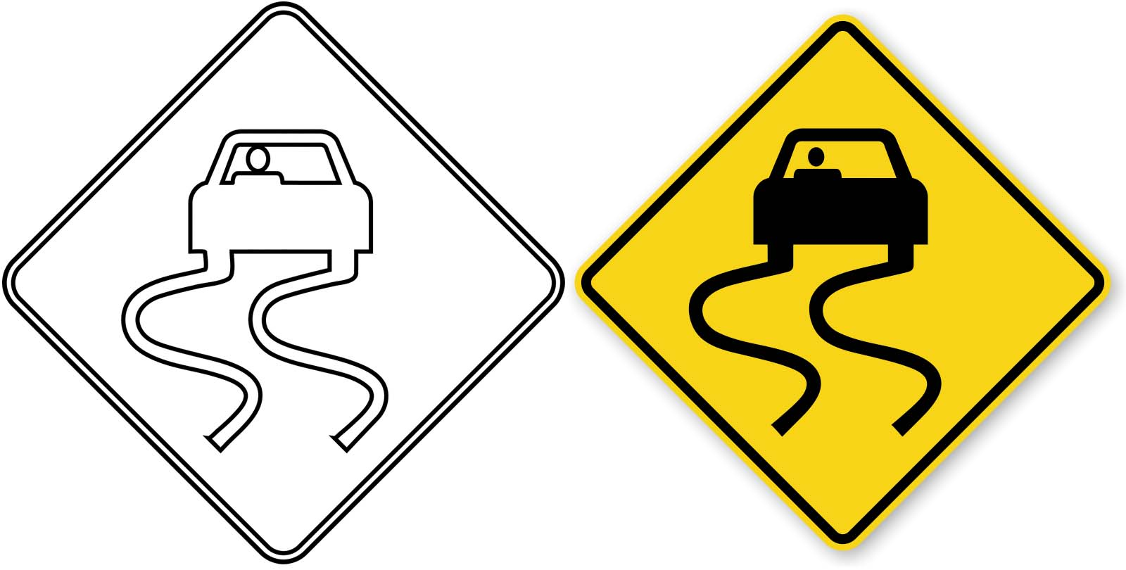 slippery road sign clipart