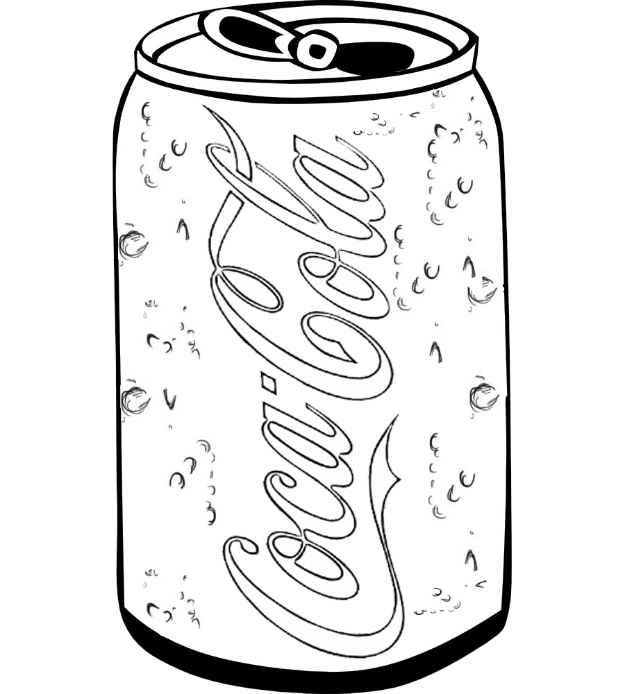 soft drink coca cola coloring and drawing page