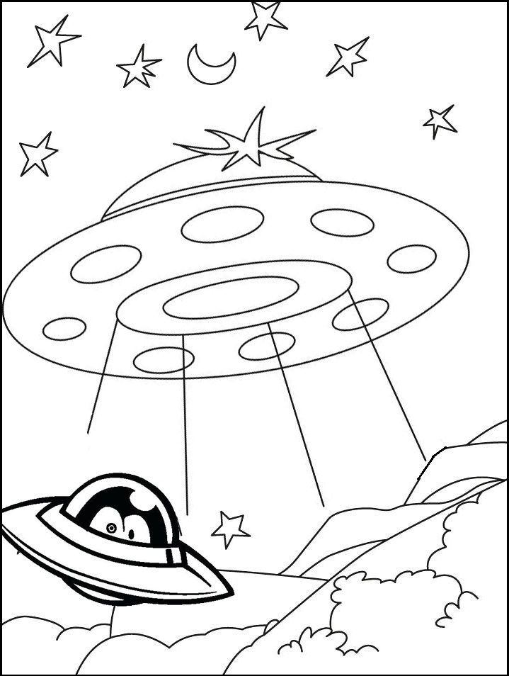 ufo landing coloring pages