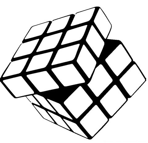 3D rubiks cube coloring page