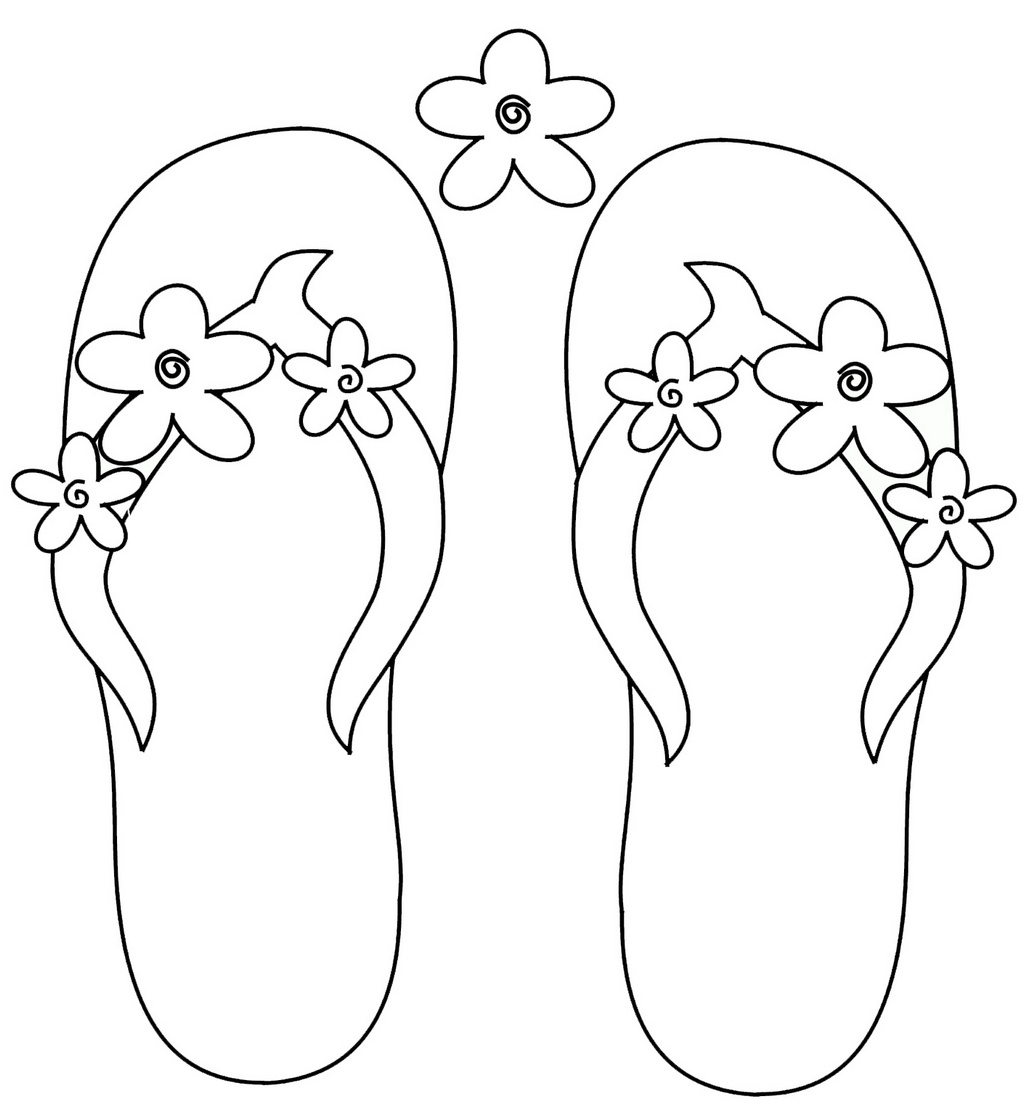 Pretty Awesome Flip Flops Coloring Pages for Girls and Boys ...