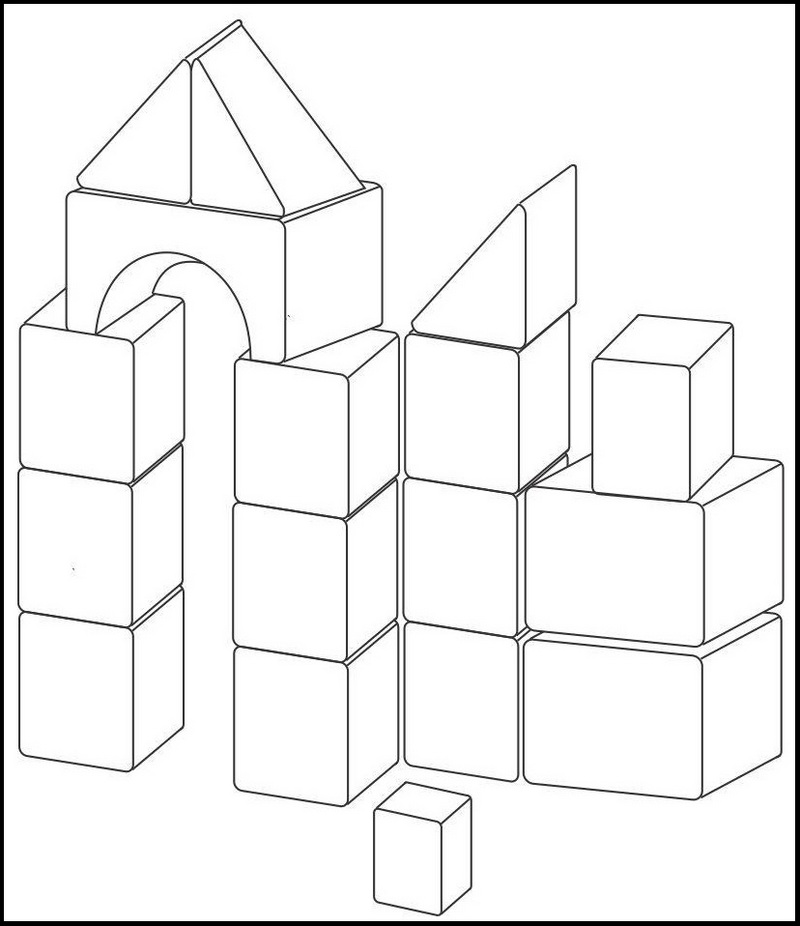Blocks Building Toys Coloring Page