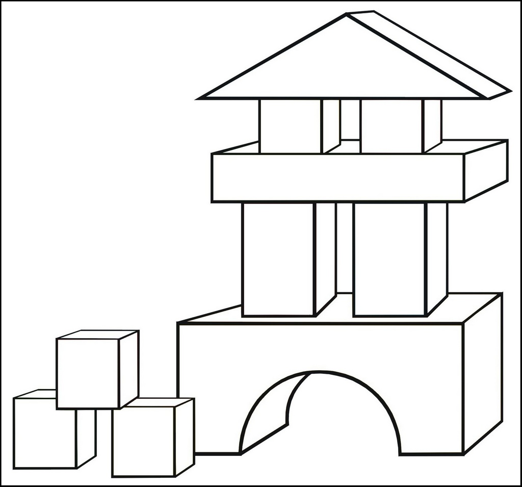 Blocks Home Toys Coloring Page