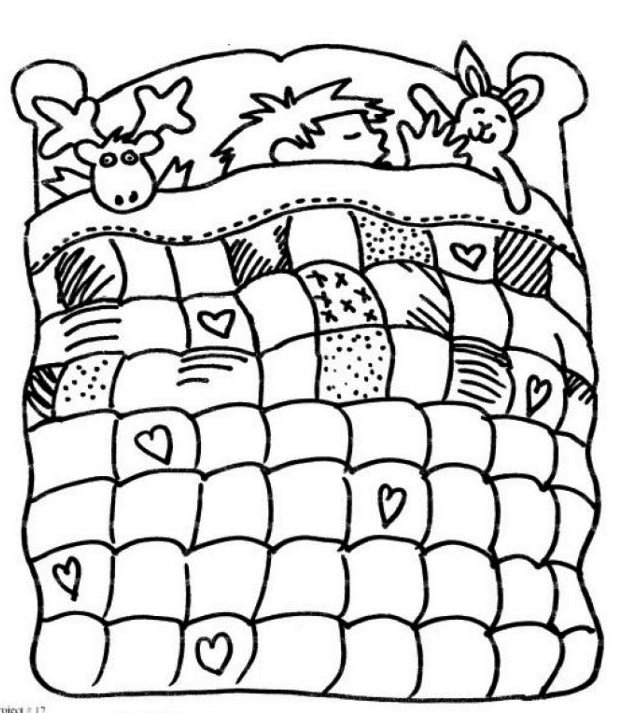 Boy in Bed with quilt coloring page
