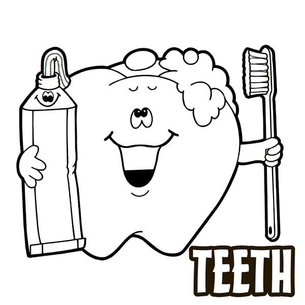 Brushing Teeth Cartoon Coloring Pages