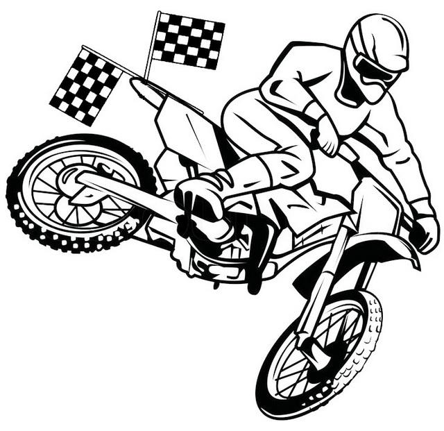 Dirt Bike Racing Coloring Page