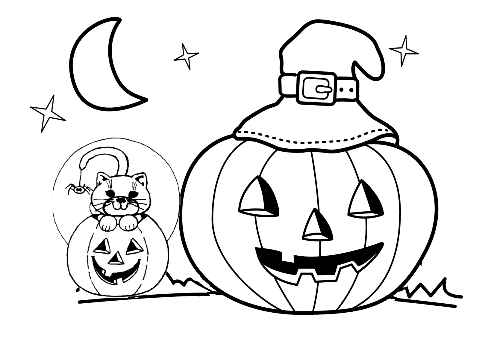 Fun printable jack o lantern with a witch hat coloring page