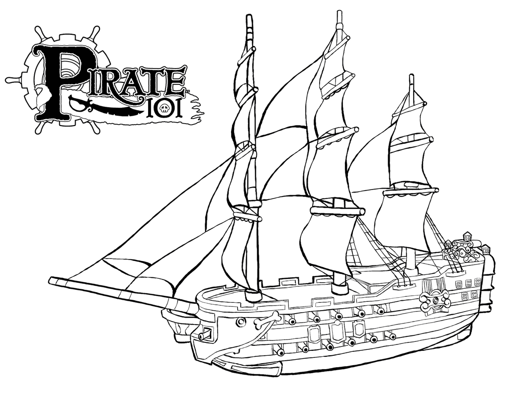 High Detailed Pirate Ship Coloring Page Illustration