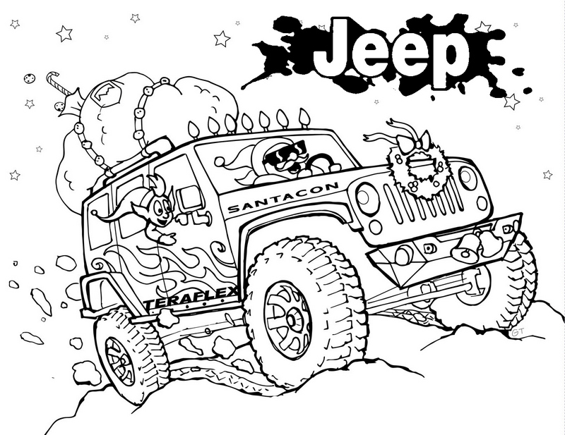 Jeep Wrangler Off Road Monster Coloring Page