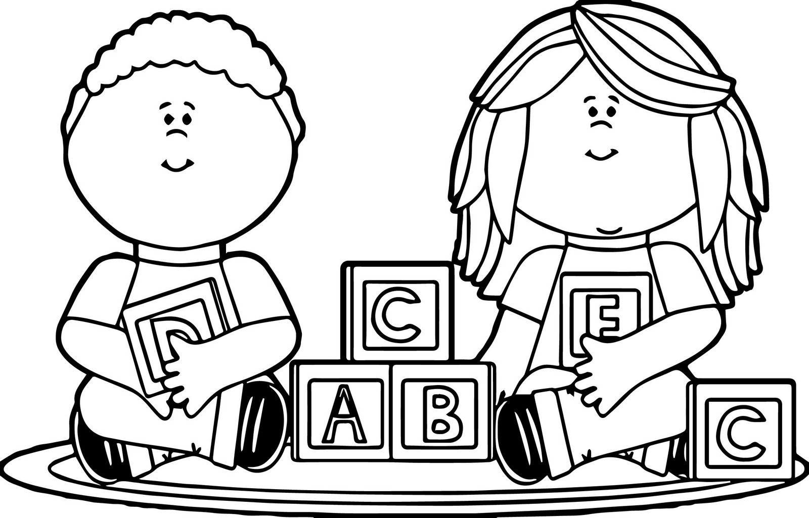 Kids Playing ABC Blocks Toys Coloring Page