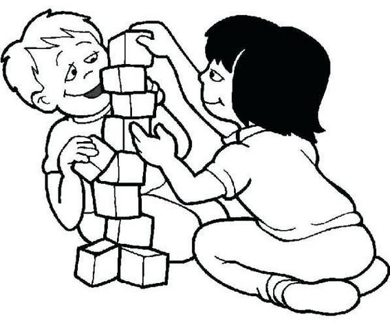 Kids Playing Blocks Coloring Page Printable