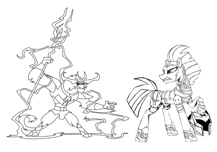 MLP Tempest Shadow and Storm King Coloring Page