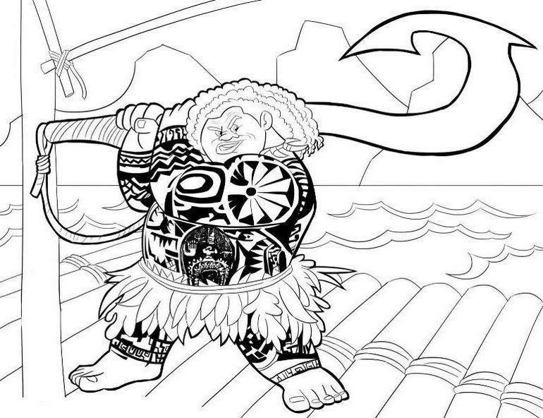 Moana Maui with Big Hook Coloring Page