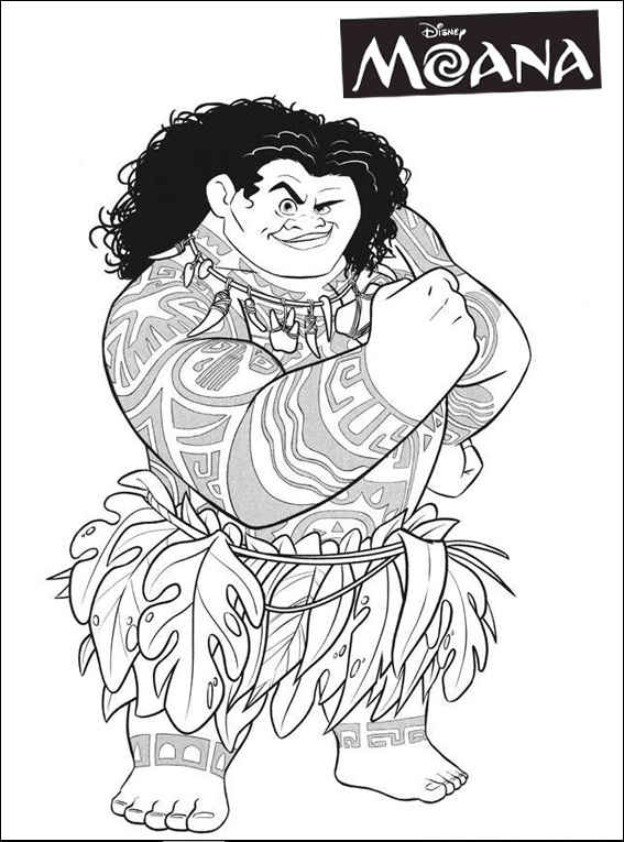 maui hook coloring page - new moana maui adventure coloring page