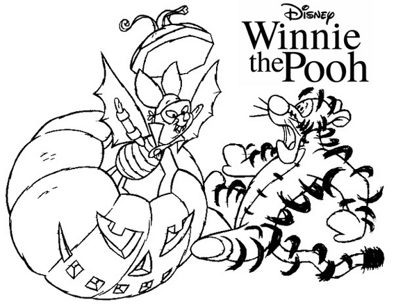 Piglet Tigger Disney Winnie the Pooh Halloween themed Coloring Page
