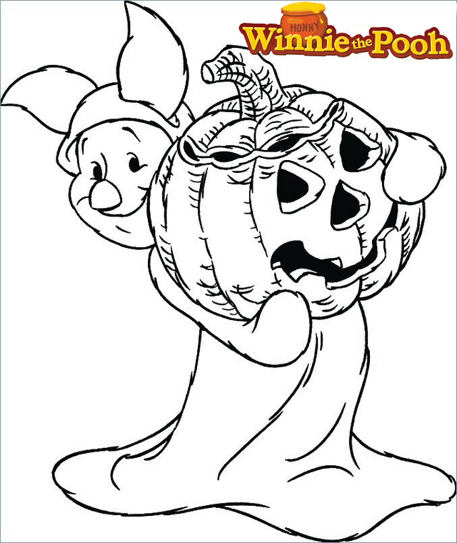 Piglet from Disney Winnie the Pooh Halloween Coloring Page
