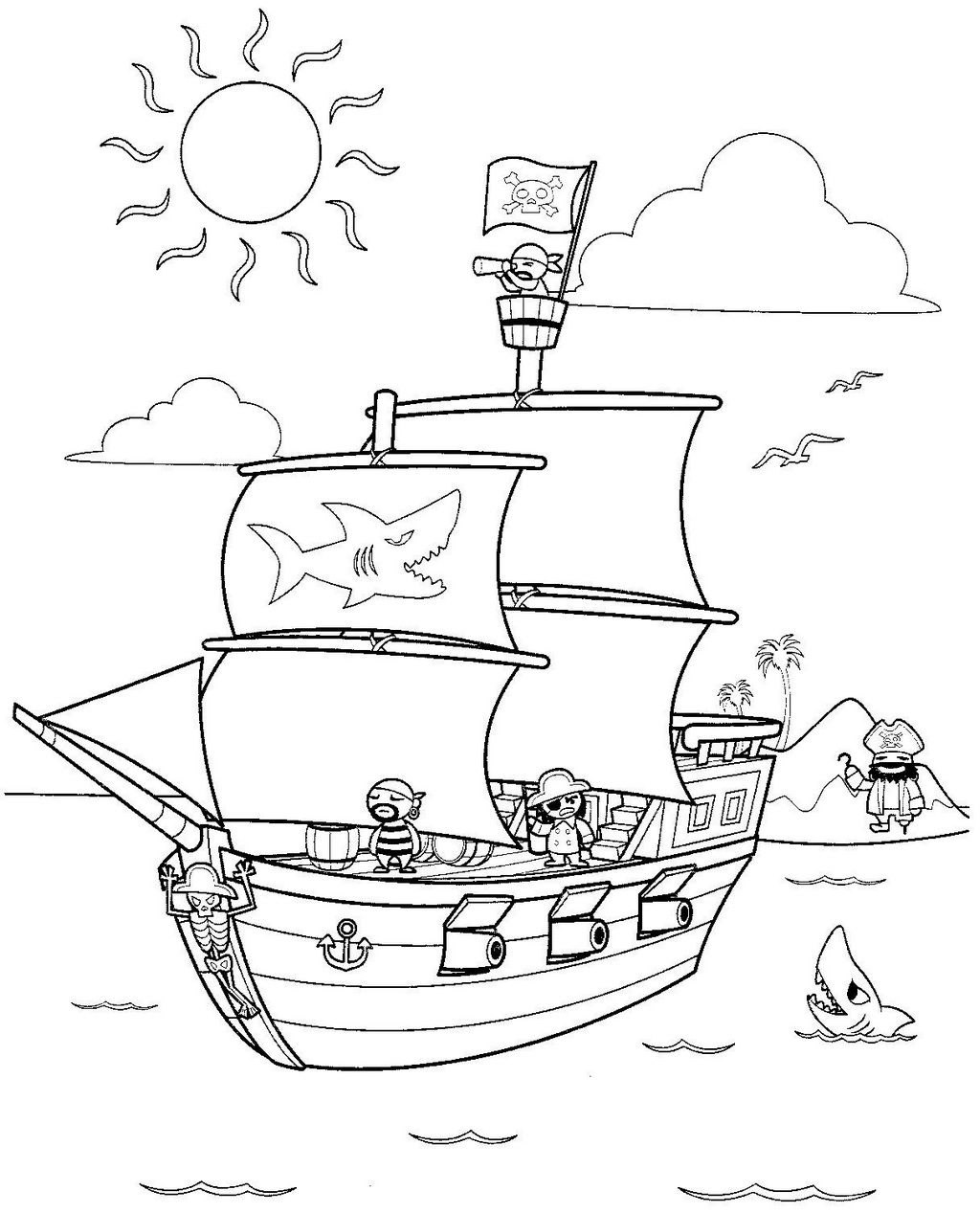 Pirate Ship Themed Coloring Pages for Kids