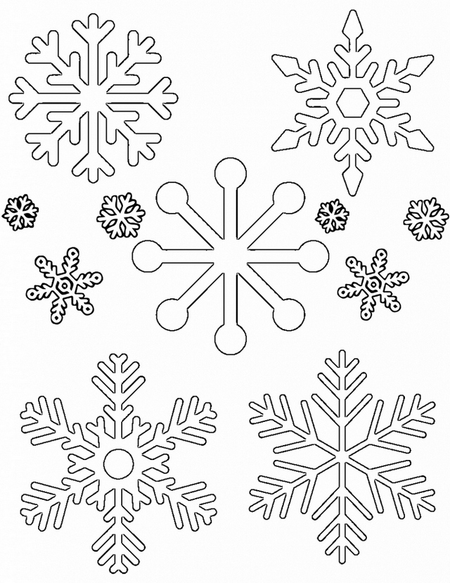 Snowflakes Tracing Patterns Coloring Page