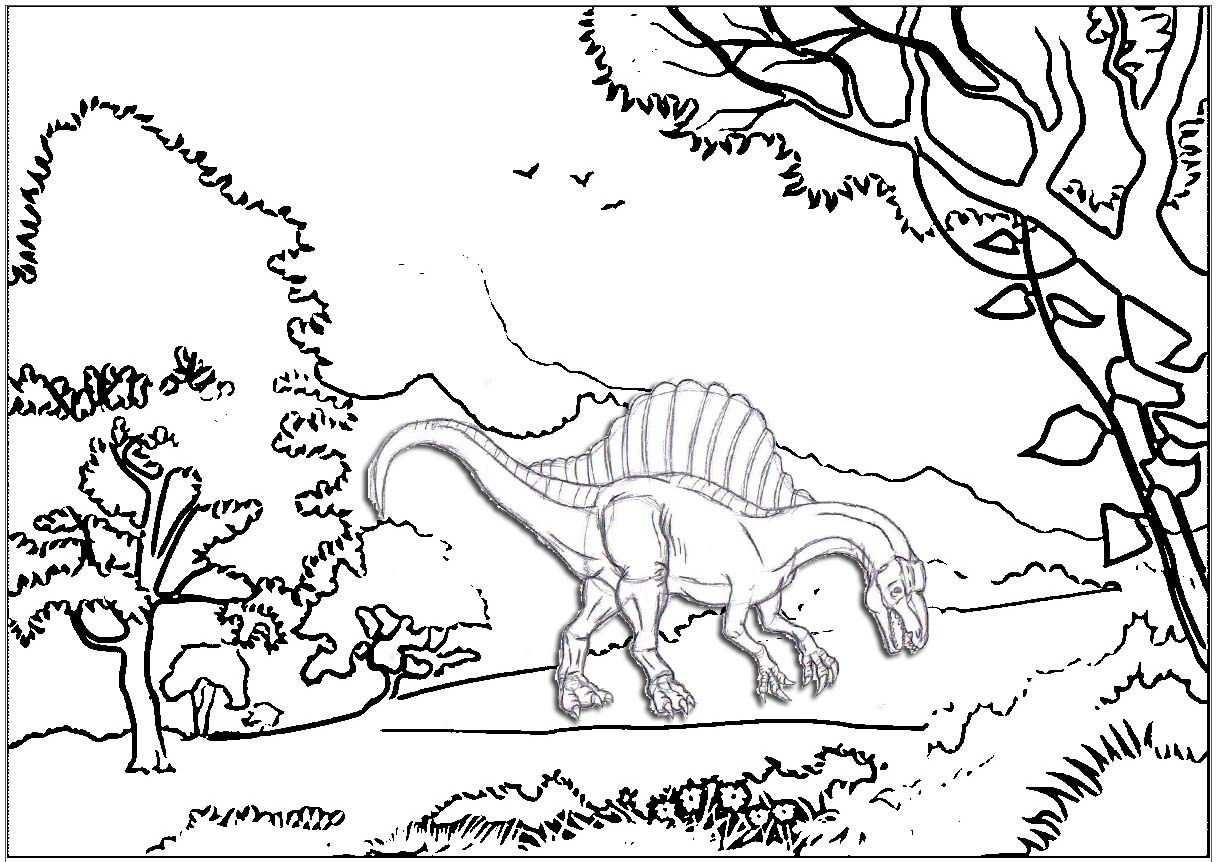 Spinosaurus in forest coloring page