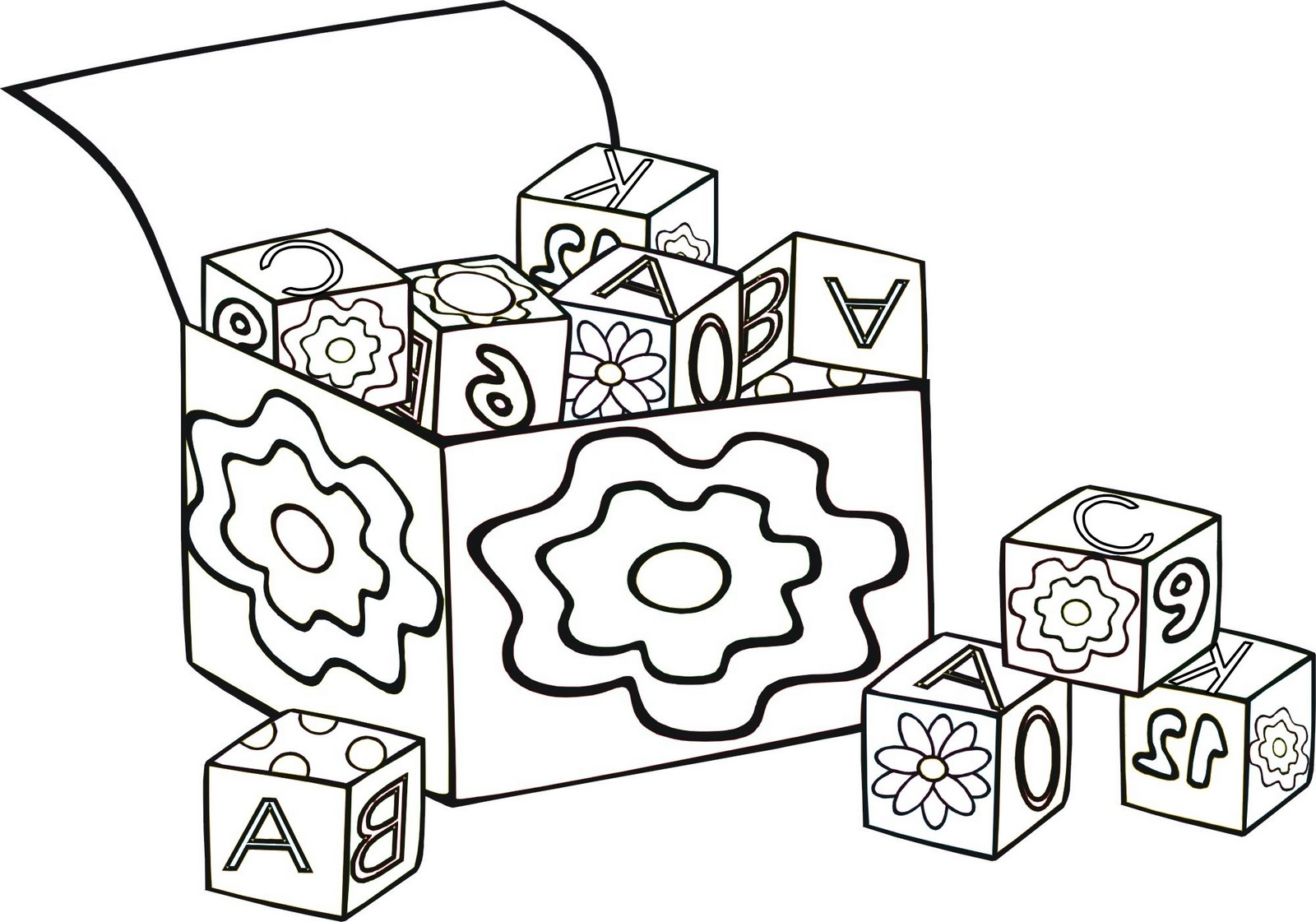 abc blocks toys in the box coloring page