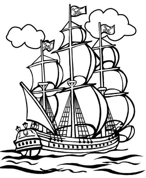 animated cartoon pirate ships coloring page